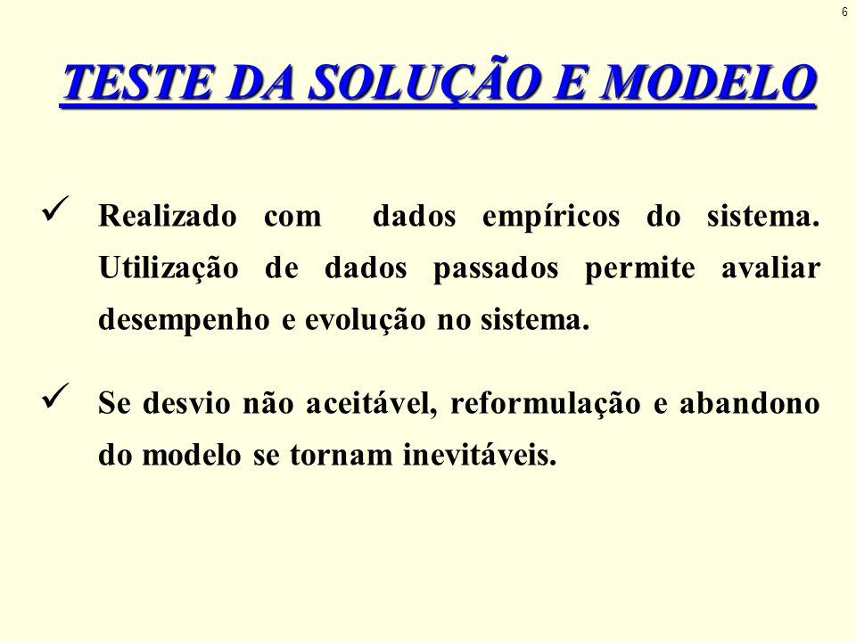 TESTE DA SOLUÇÃO E MODELO