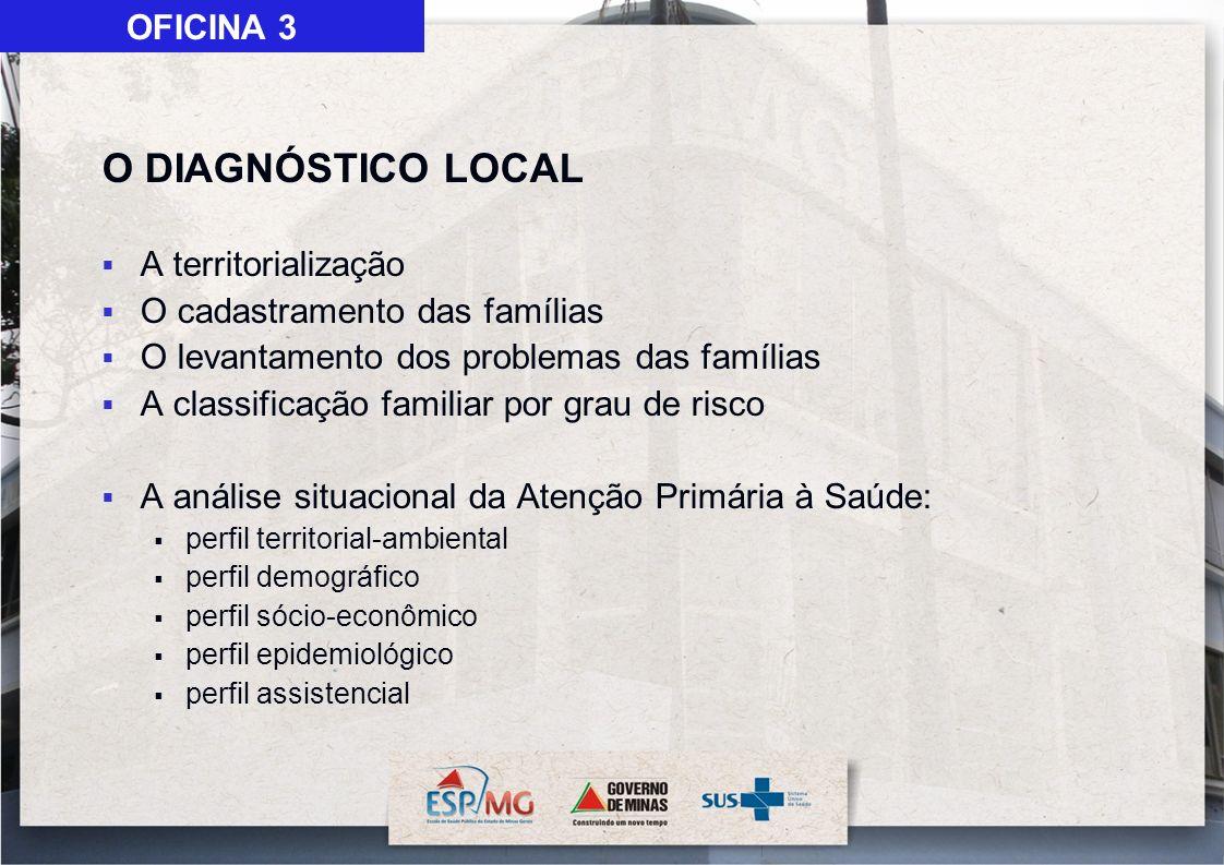 O DIAGNÓSTICO LOCAL OFICINA 3 A territorialização