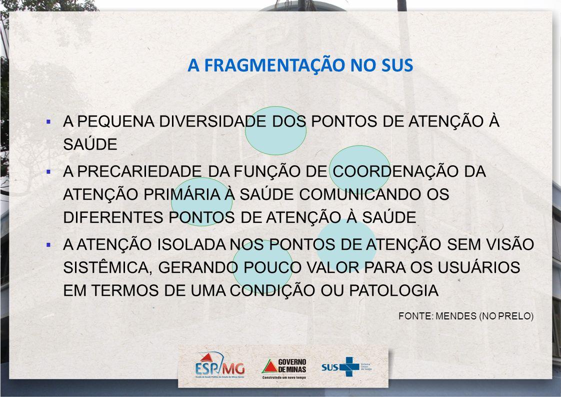 A FRAGMENTAÇÃO NO SUS A PEQUENA DIVERSIDADE DOS PONTOS DE ATENÇÃO À SAÚDE.