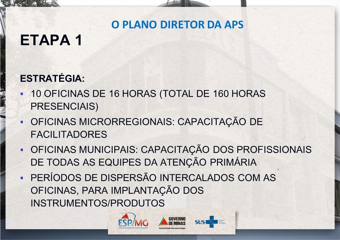 ETAPA 1 O PLANO DIRETOR DA APS ESTRATÉGIA: