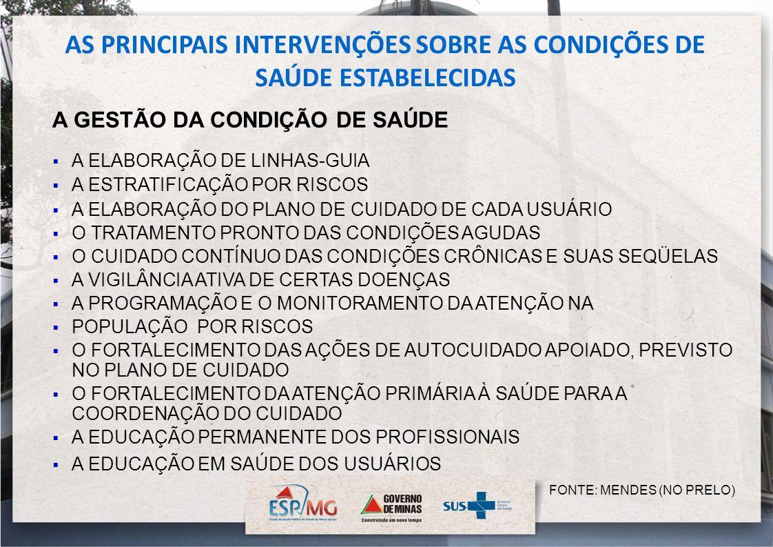 AS PRINCIPAIS INTERVENÇÕES SOBRE AS CONDIÇÕES DE SAÚDE ESTABELECIDAS