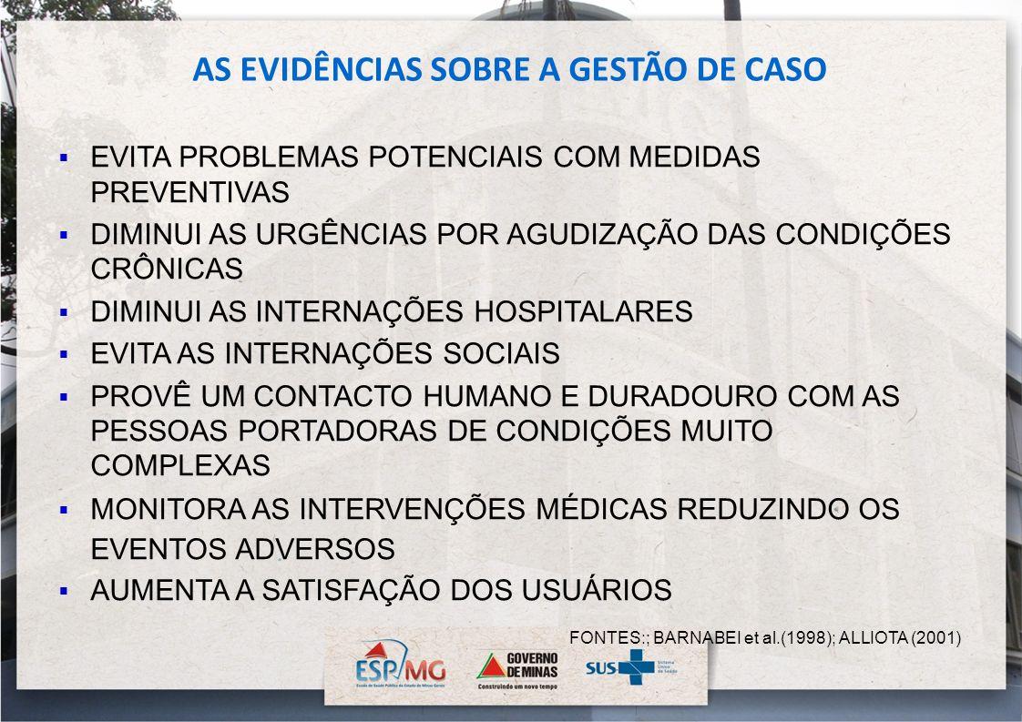 AS EVIDÊNCIAS SOBRE A GESTÃO DE CASO