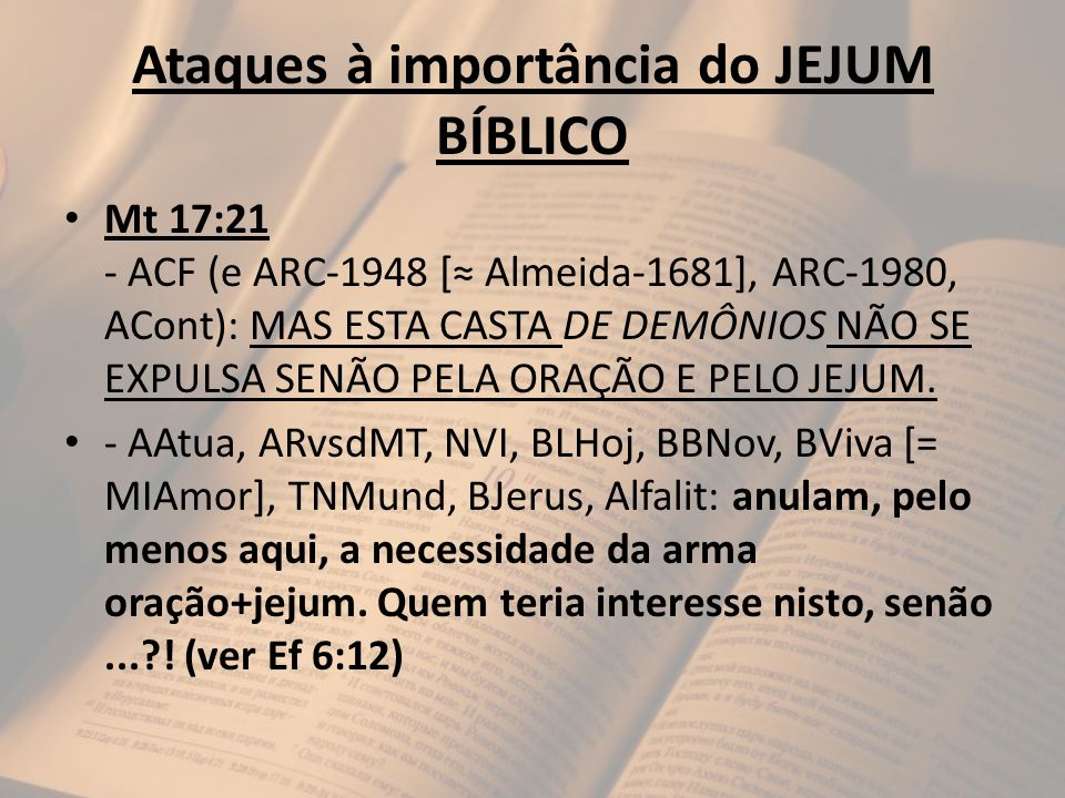 Ataques à importância do JEJUM BÍBLICO