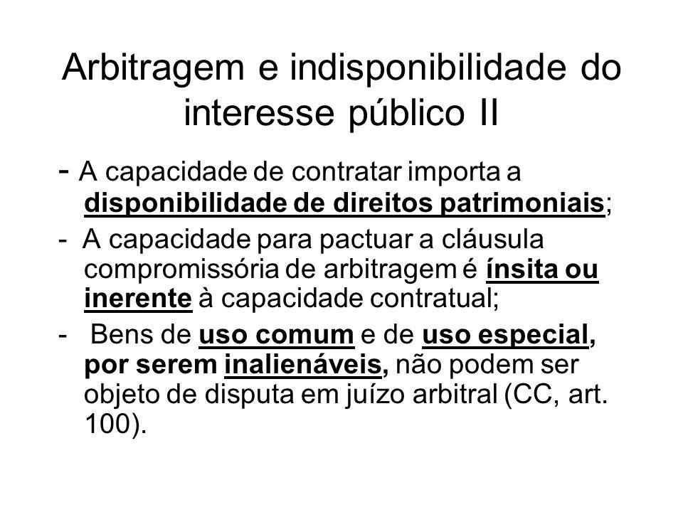 Arbitragem e indisponibilidade do interesse público II