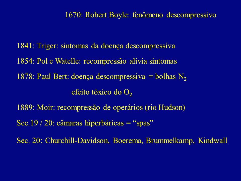 1670: Robert Boyle: fenômeno descompressivo
