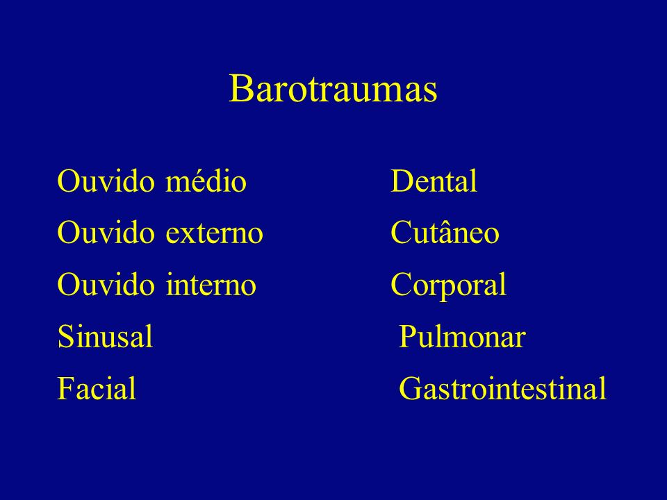 Barotraumas Ouvido médio Dental Ouvido externo Cutâneo