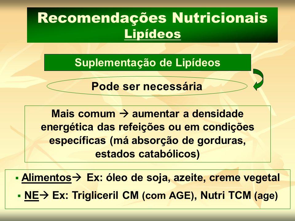 Suplementação de Lipídeos Recomendações Nutricionais Lipídeos
