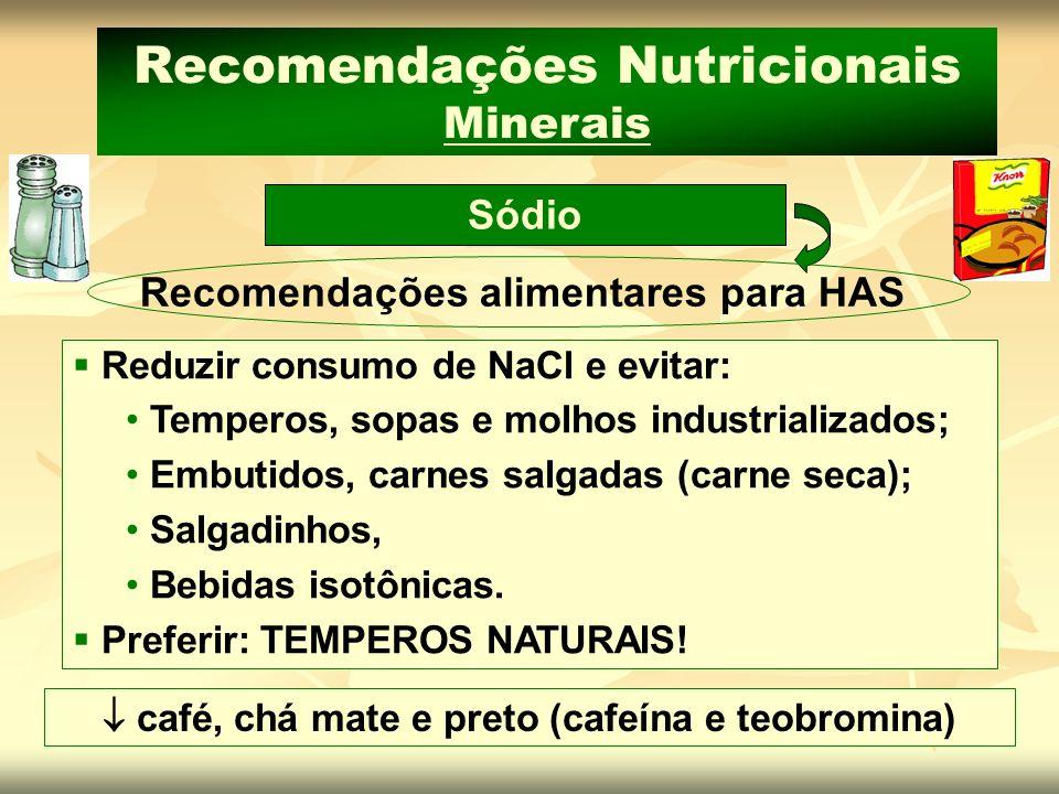 Recomendações Nutricionais Minerais