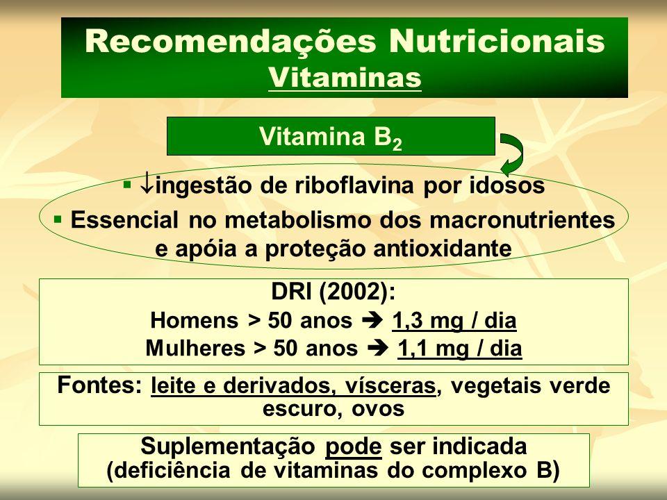 Recomendações Nutricionais Vitaminas