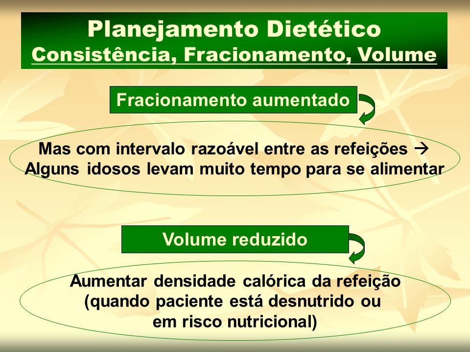 Planejamento Dietético Consistência, Fracionamento, Volume