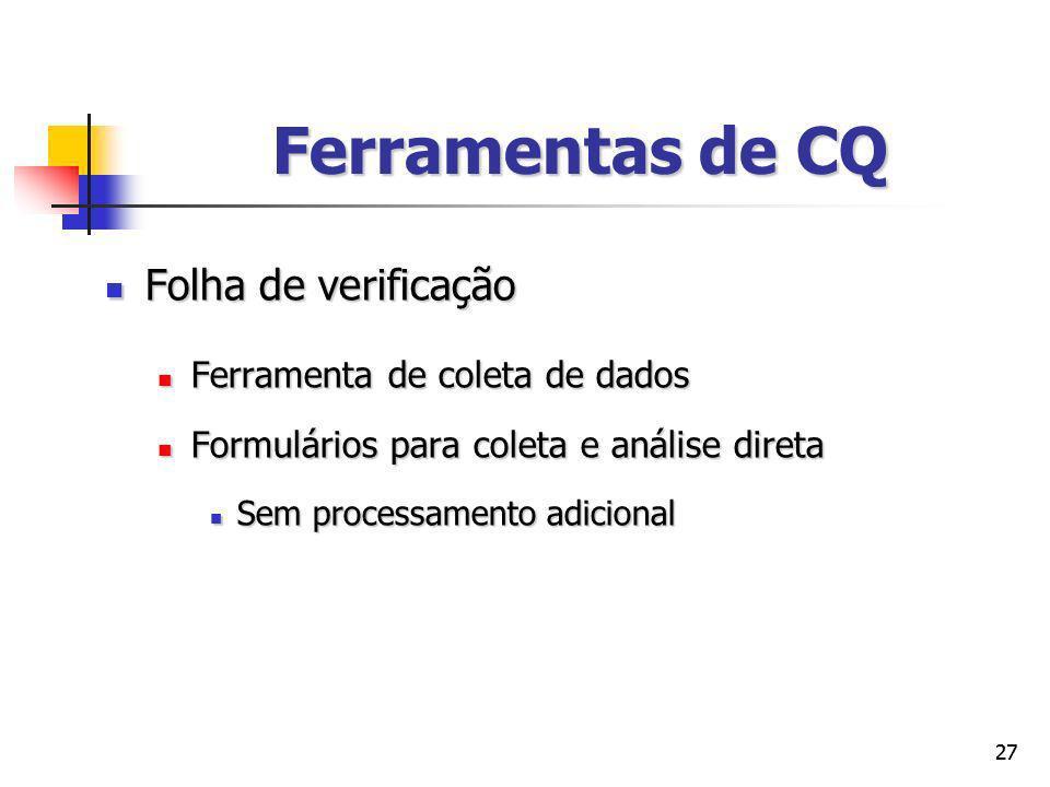 Ferramentas de CQ Folha de verificação Ferramenta de coleta de dados