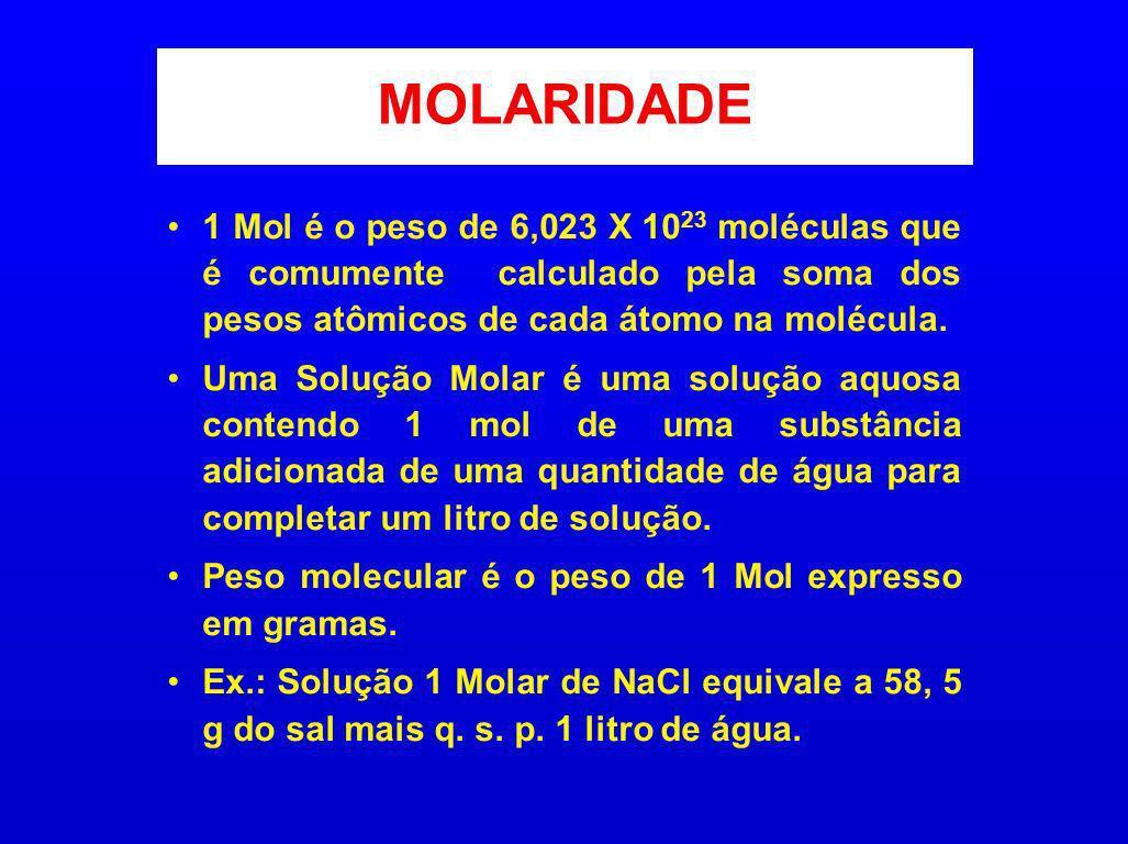 MOLARIDADE 1 Mol é o peso de 6,023 X 1023 moléculas que é comumente calculado pela soma dos pesos atômicos de cada átomo na molécula.