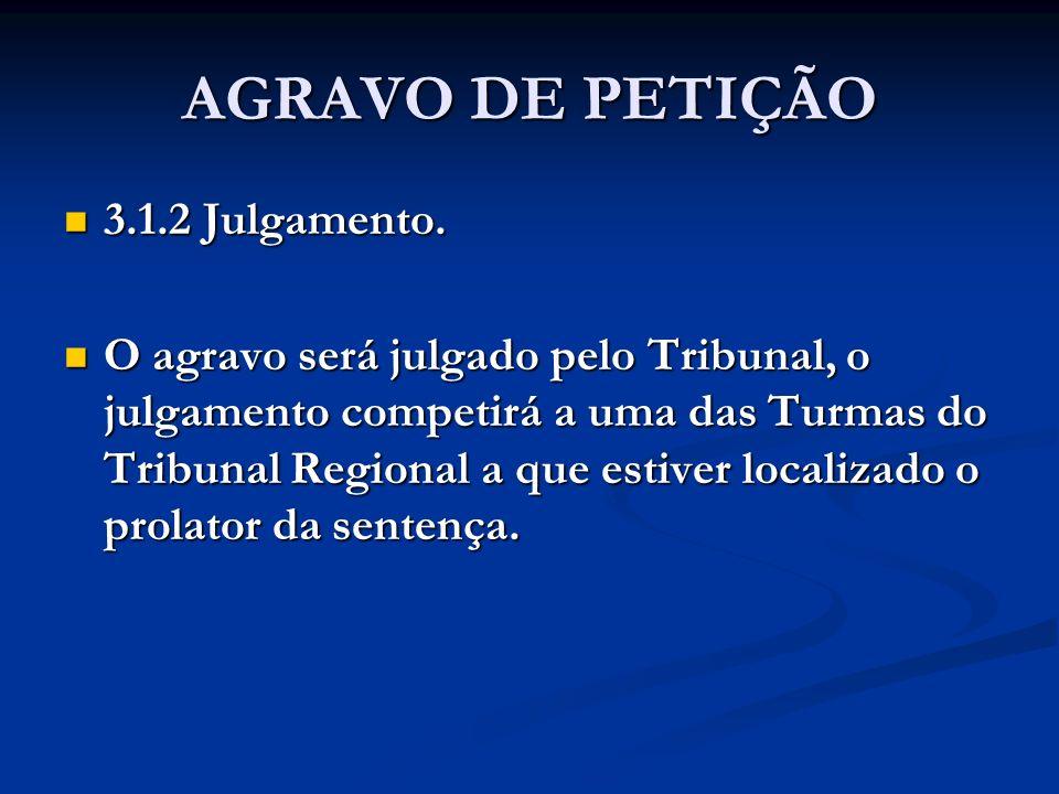 AGRAVO DE PETIÇÃO 3.1.2 Julgamento.