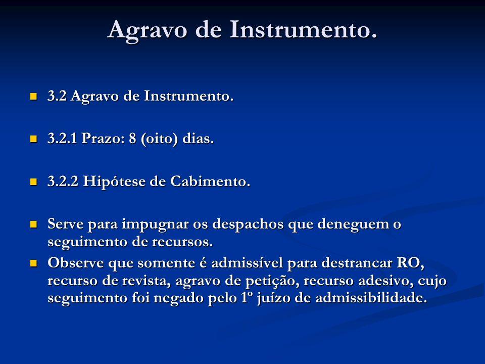 Agravo de Instrumento. 3.2 Agravo de Instrumento.
