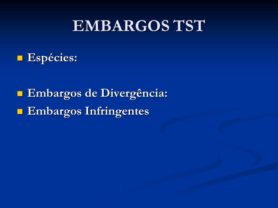 EMBARGOS TST Espécies: Embargos de Divergência: Embargos Infringentes