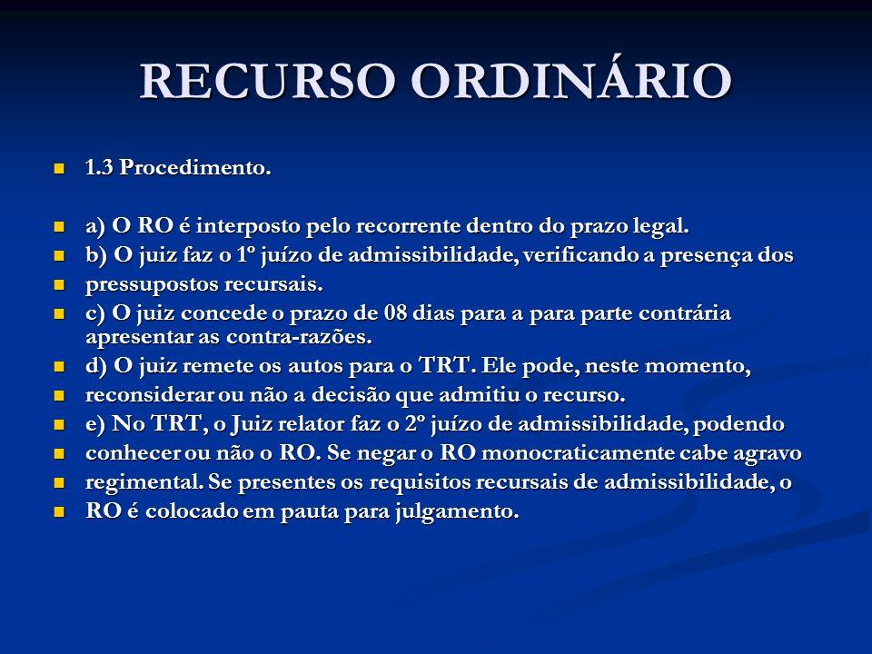 RECURSO ORDINÁRIO 1.3 Procedimento.
