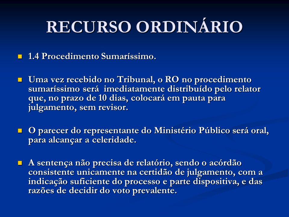 RECURSO ORDINÁRIO 1.4 Procedimento Sumaríssimo.