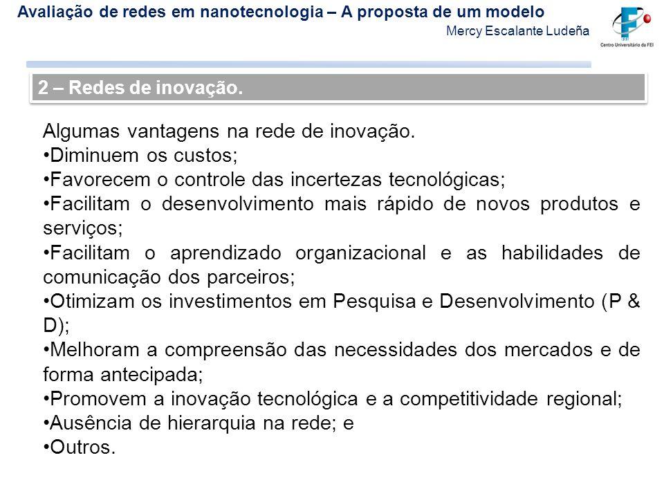Algumas vantagens na rede de inovação. Diminuem os custos;