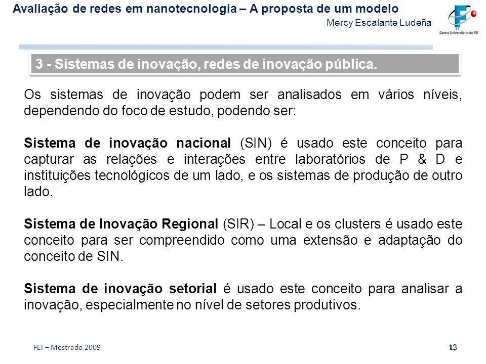 3 - Sistemas de inovação, redes de inovação pública.