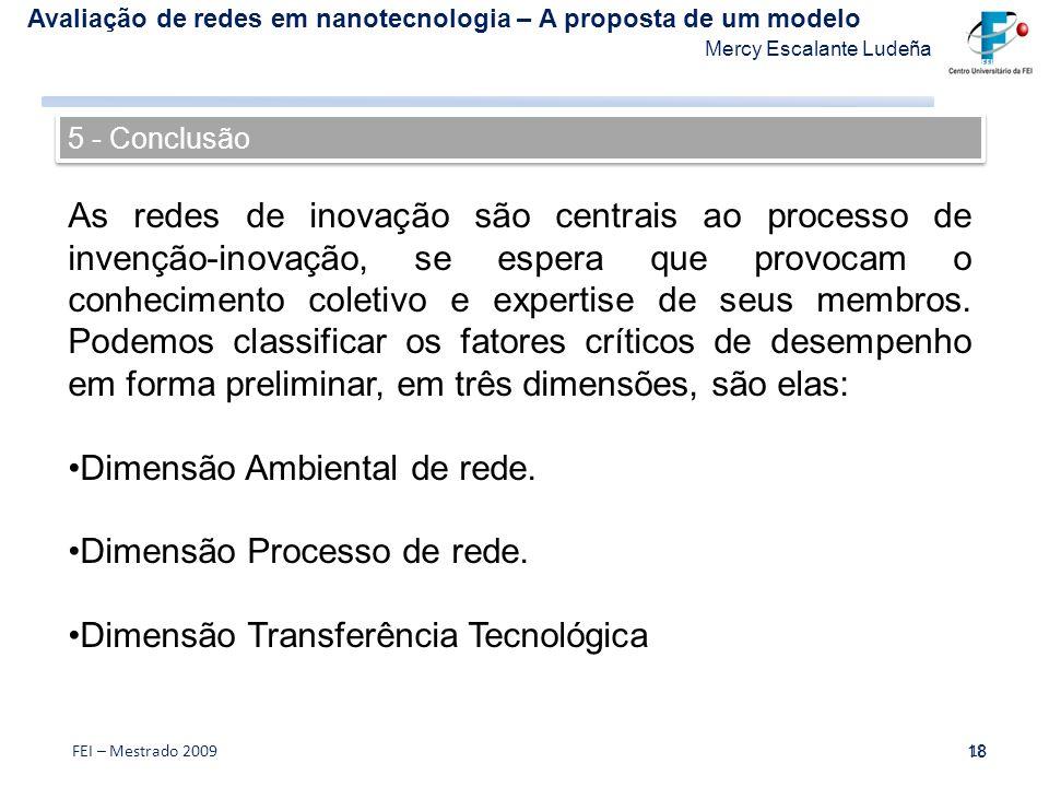 Dimensão Ambiental de rede. Dimensão Processo de rede.