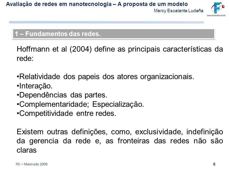 Hoffmann et al (2004) define as principais características da rede: