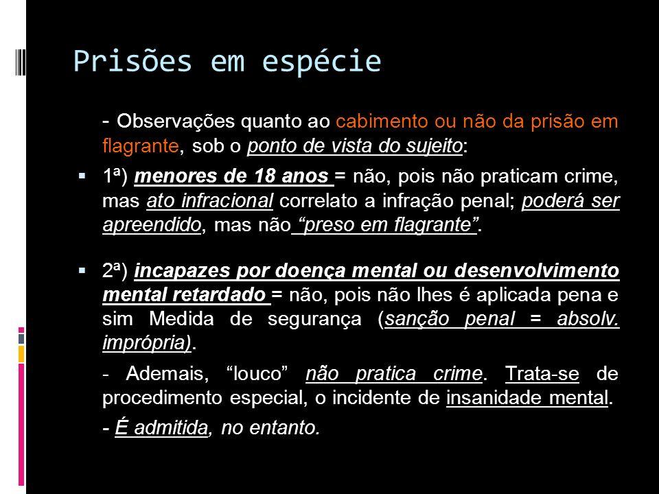 Prisões em espécie - Observações quanto ao cabimento ou não da prisão em flagrante, sob o ponto de vista do sujeito: