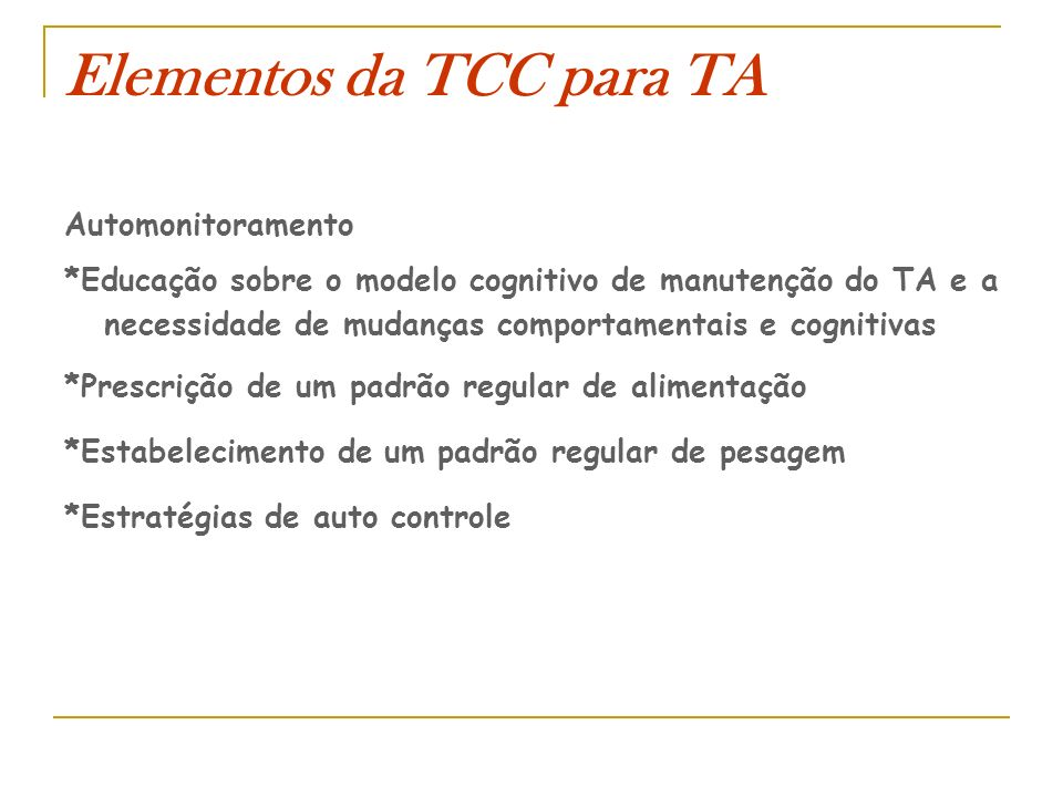 Elementos da TCC para TA
