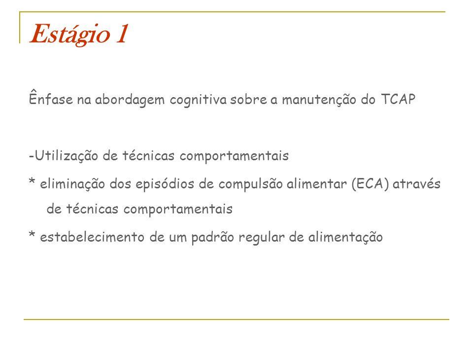 Estágio 1 Ênfase na abordagem cognitiva sobre a manutenção do TCAP