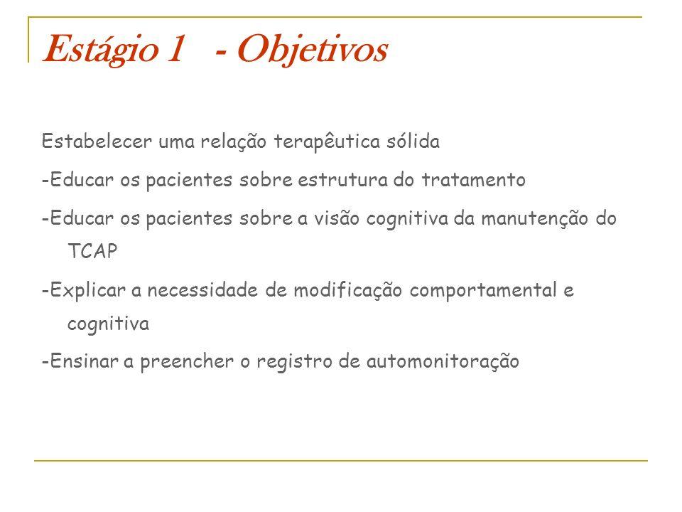 Estágio 1 - Objetivos Estabelecer uma relação terapêutica sólida