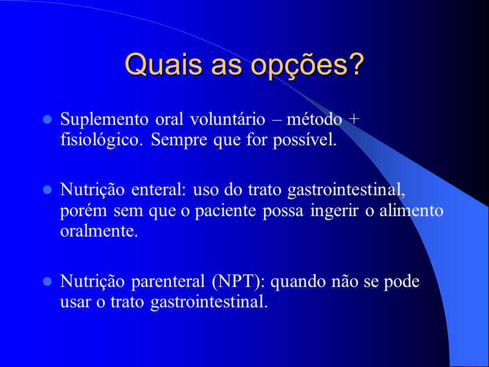 Quais as opções Suplemento oral voluntário – método + fisiológico. Sempre que for possível.