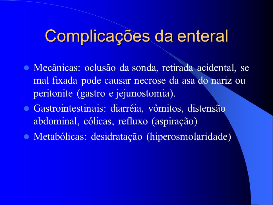 Complicações da enteral