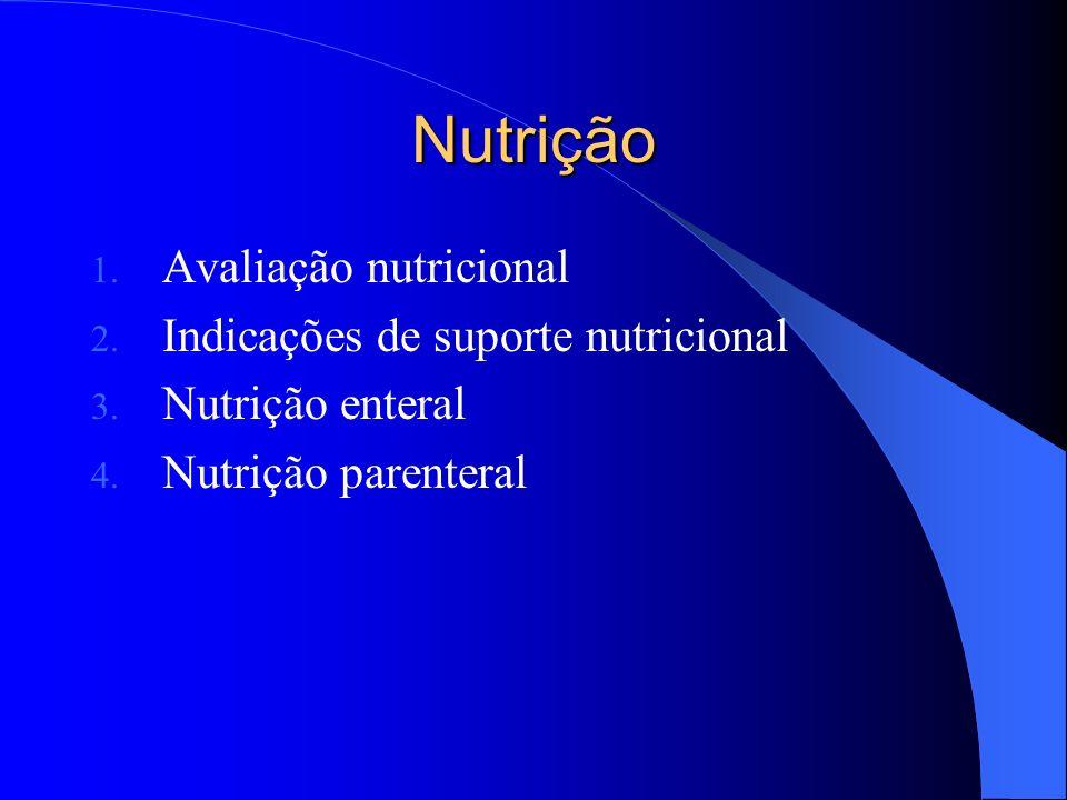 Nutrição Avaliação nutricional Indicações de suporte nutricional