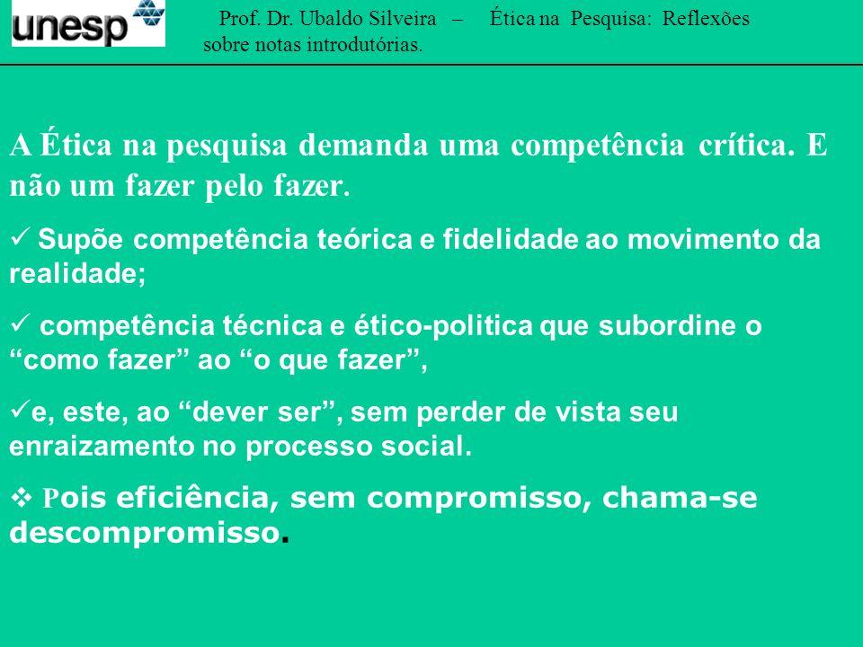 Prof. Dr. Ubaldo Silveira – Ética na Pesquisa: Reflexões sobre notas introdutórias.