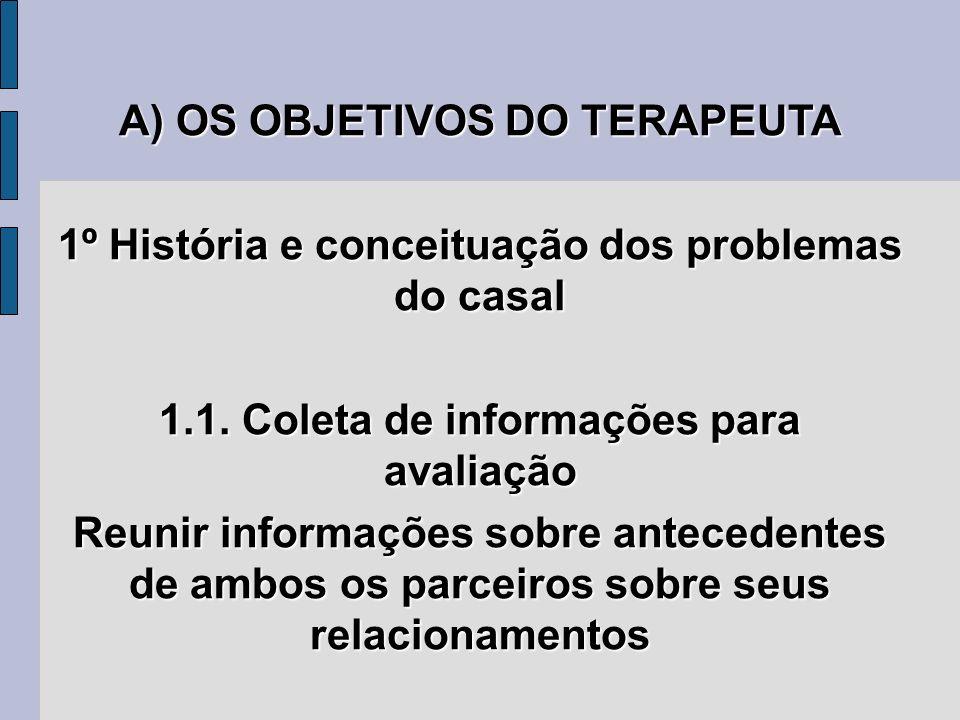 A) OS OBJETIVOS DO TERAPEUTA