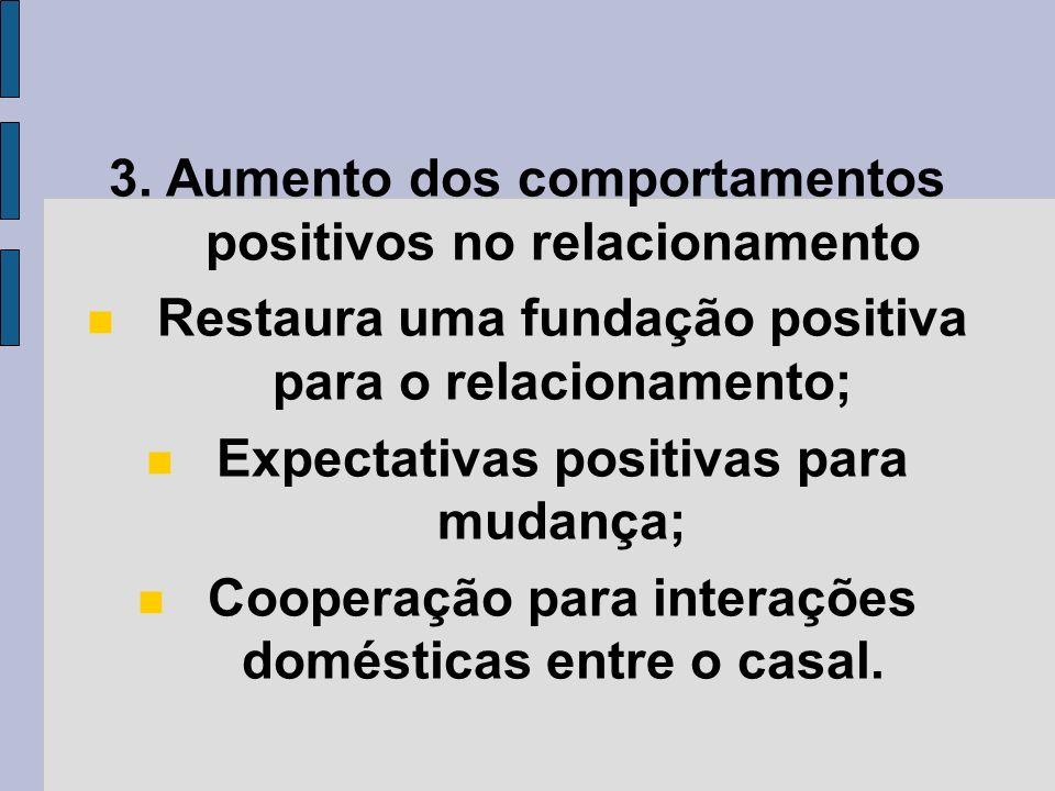 3. Aumento dos comportamentos positivos no relacionamento