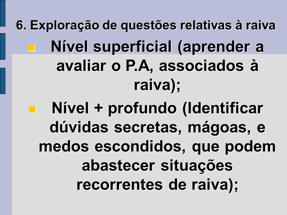 Nível superficial (aprender a avaliar o P.A, associados à raiva);