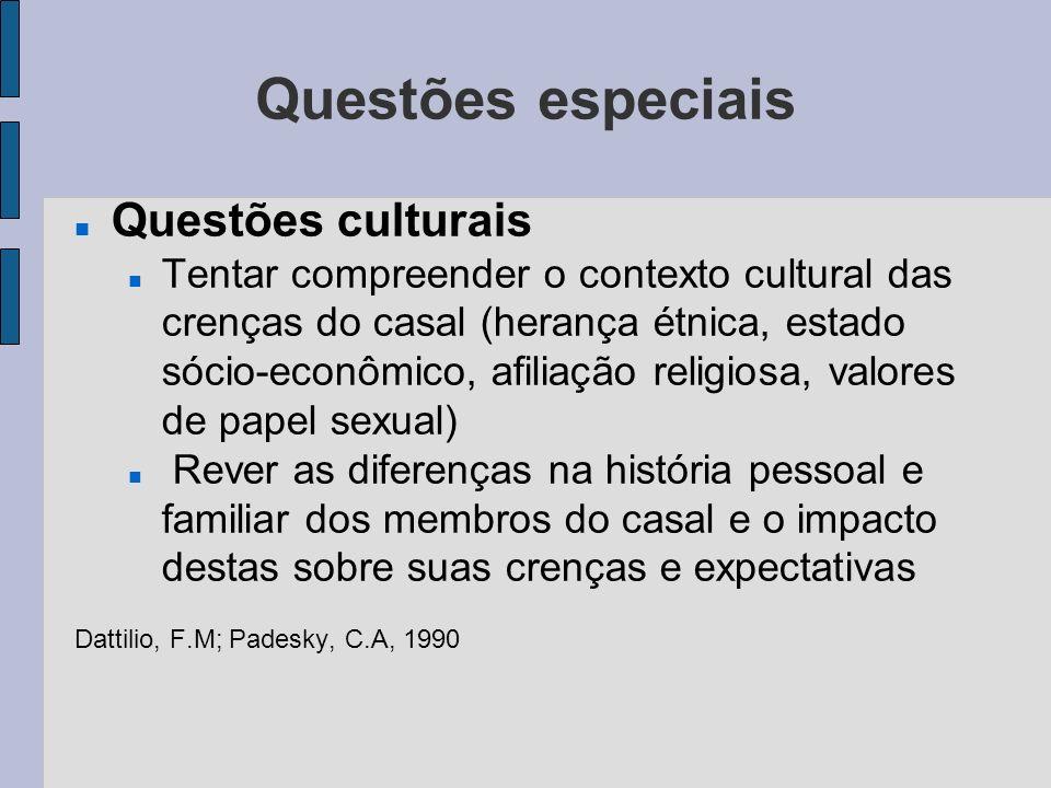 Questões especiais Questões culturais
