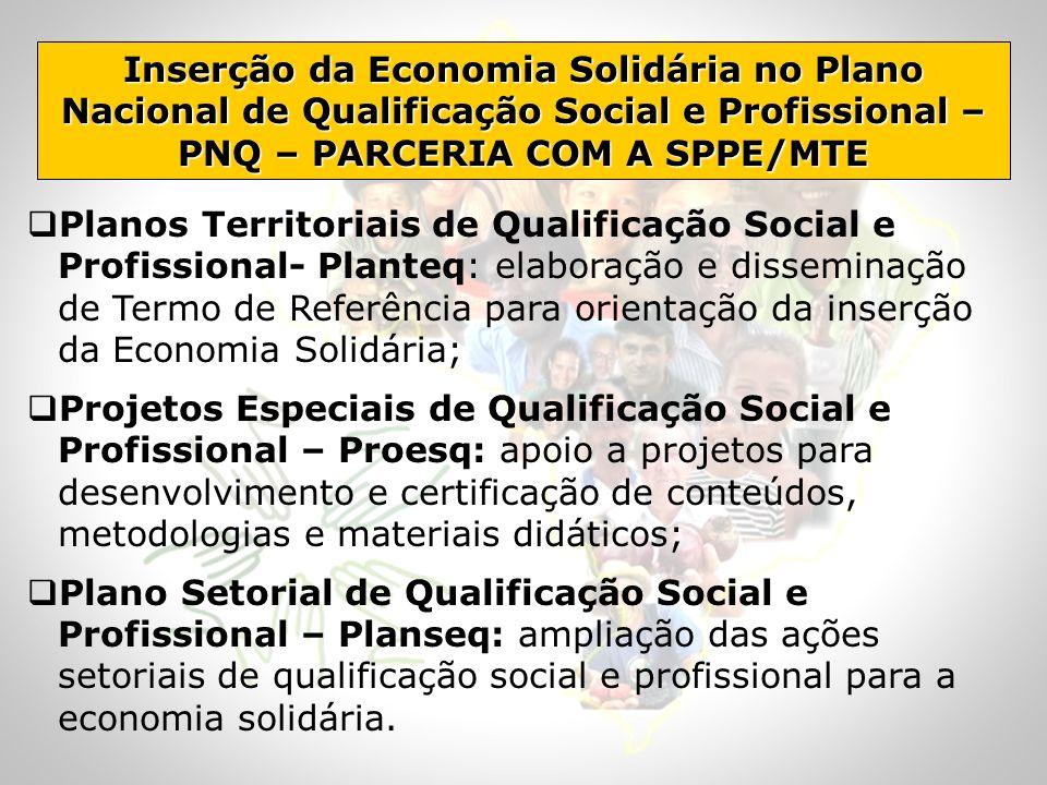 Inserção da Economia Solidária no Plano Nacional de Qualificação Social e Profissional – PNQ – PARCERIA COM A SPPE/MTE