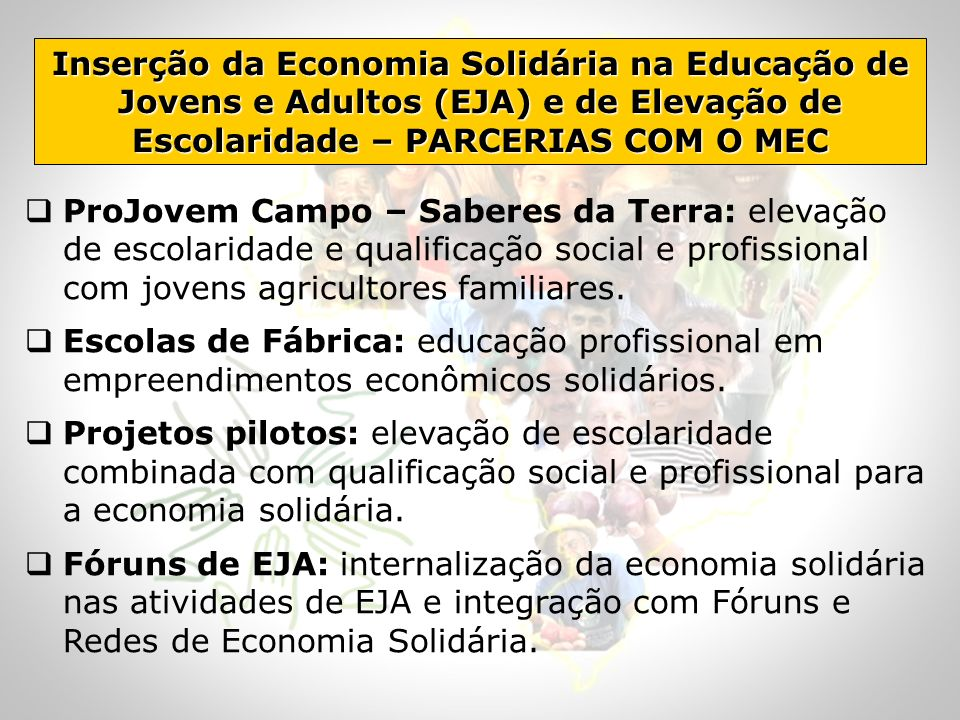 Inserção da Economia Solidária na Educação de Jovens e Adultos (EJA) e de Elevação de Escolaridade – PARCERIAS COM O MEC