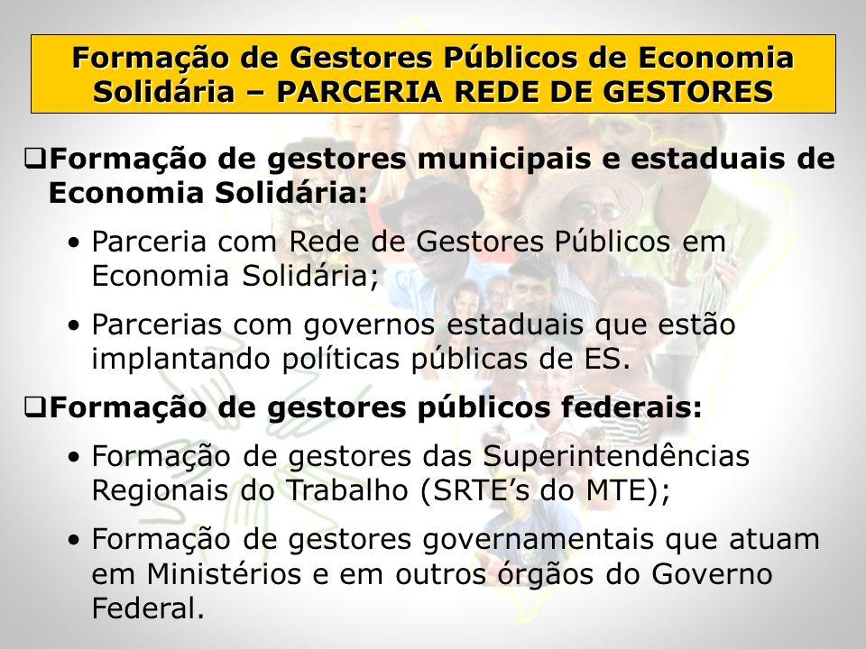 Formação de Gestores Públicos de Economia Solidária – PARCERIA REDE DE GESTORES