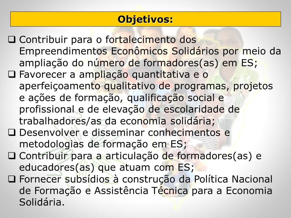 Objetivos: Contribuir para o fortalecimento dos Empreendimentos Econômicos Solidários por meio da ampliação do número de formadores(as) em ES;