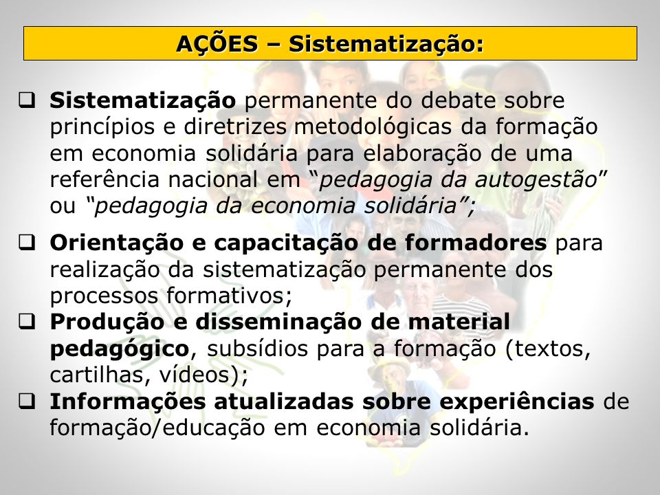 AÇÕES – Sistematização: