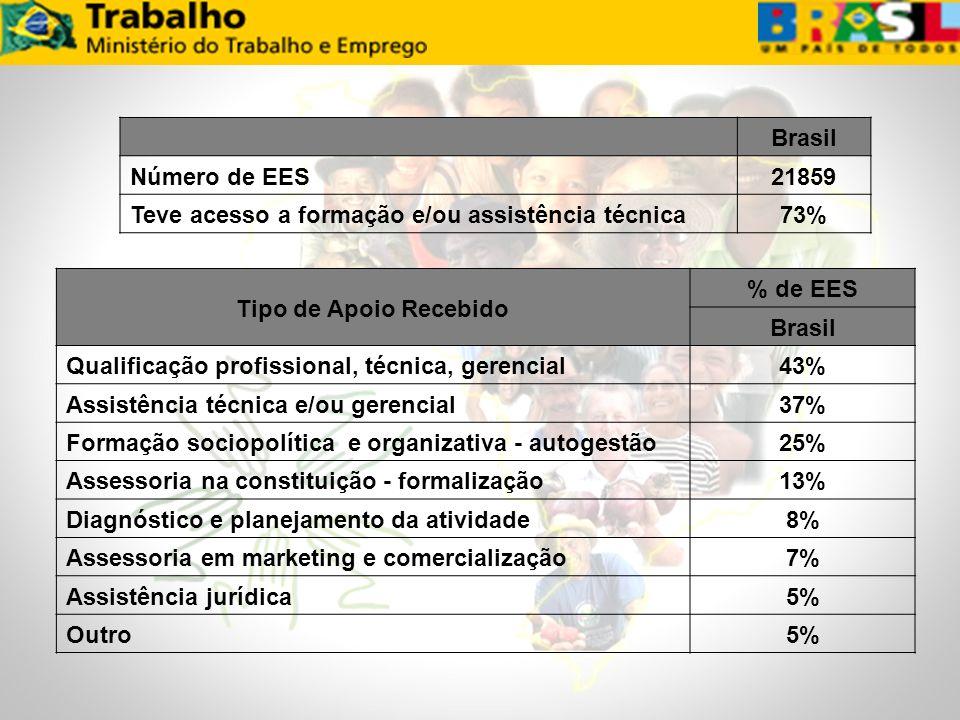 Brasil. Número de EES. 21859. Teve acesso a formação e/ou assistência técnica. 73% Tipo de Apoio Recebido.