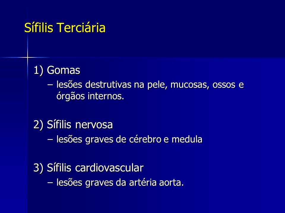 Sífilis Terciária 1) Gomas 2) Sífilis nervosa