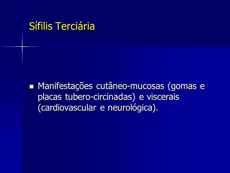 Sífilis Terciária Manifestações cutâneo-mucosas (gomas e placas tubero-circinadas) e viscerais (cardiovascular e neurológica).