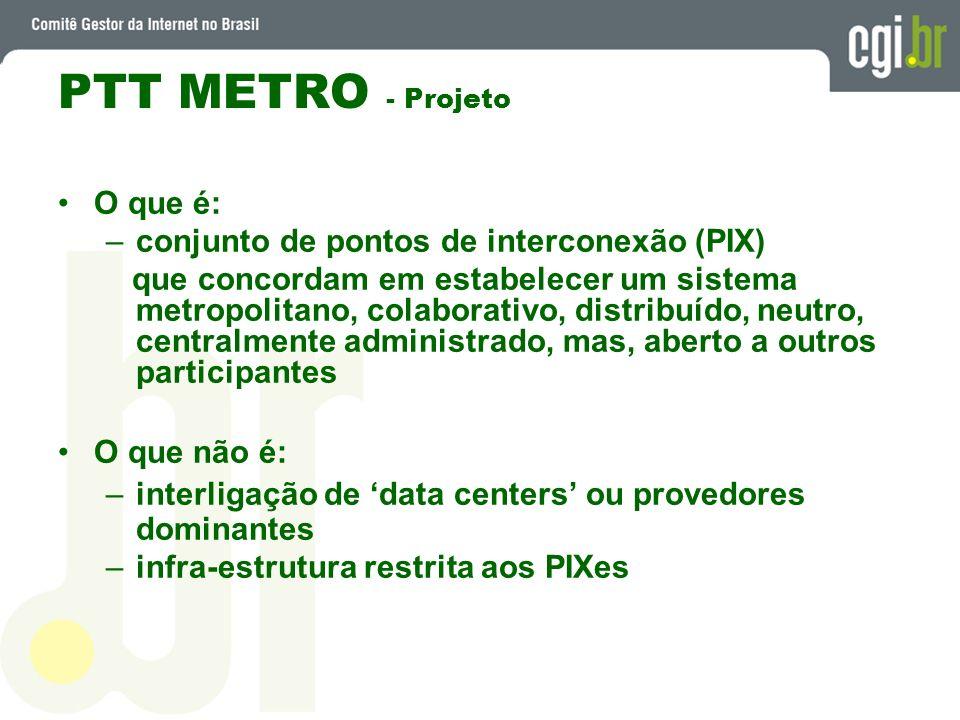 PTT METRO - Projeto O que é: conjunto de pontos de interconexão (PIX)