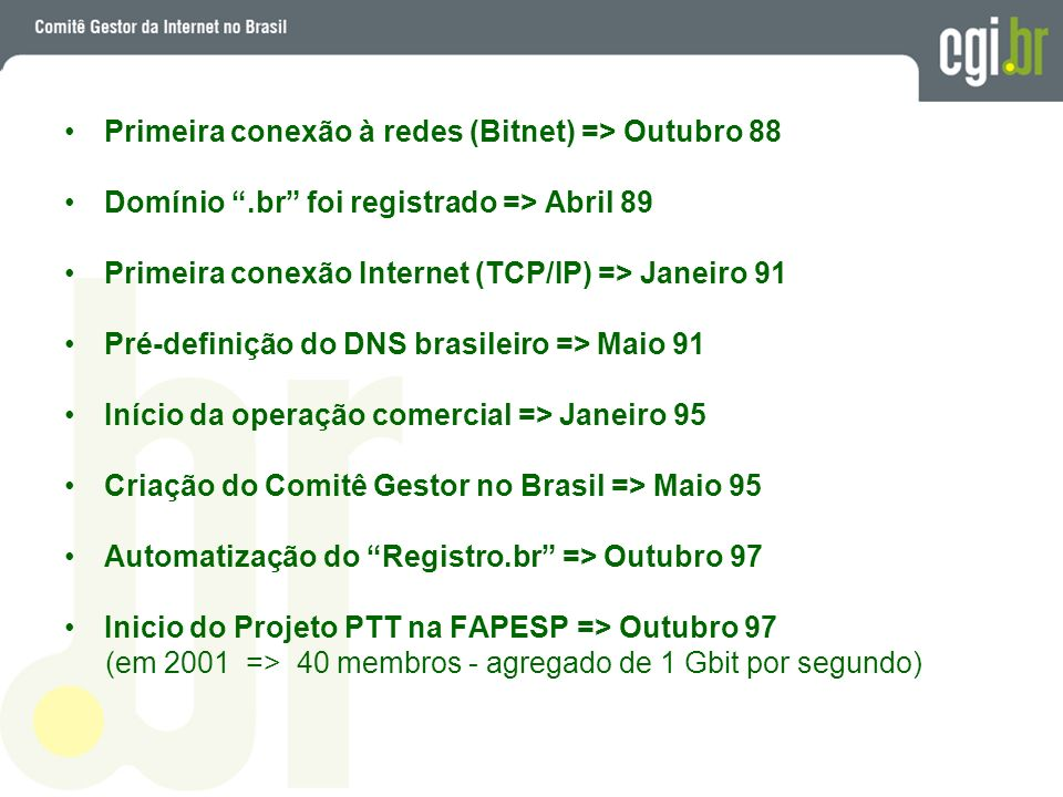 Primeira conexão à redes (Bitnet) => Outubro 88