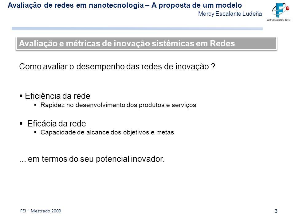 Avaliação e métricas de inovação sistêmicas em Redes