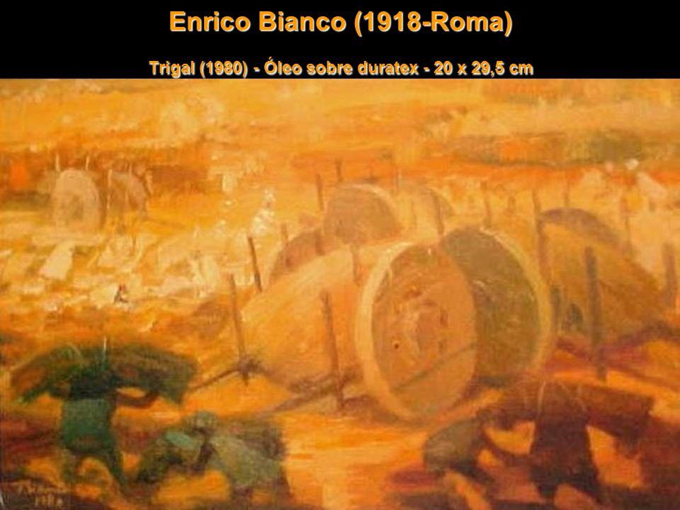 Enrico Bianco (1918-Roma) Trigal (1980) - Óleo sobre duratex - 20 x 29,5 cm