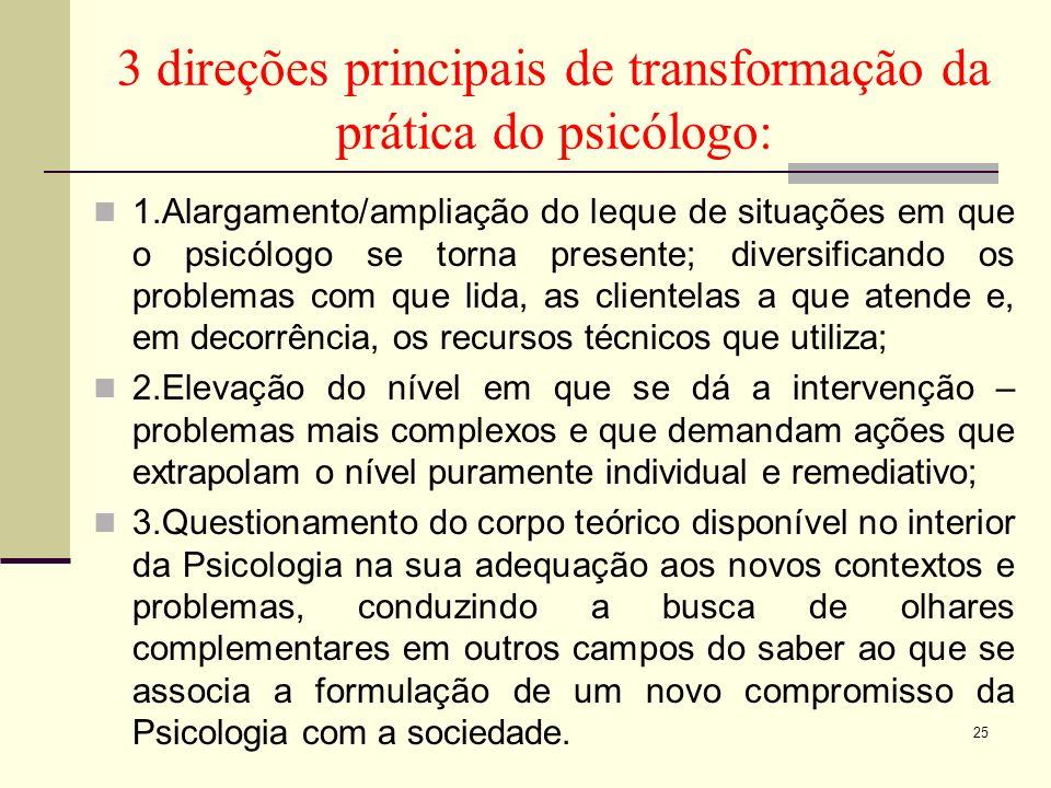 3 direções principais de transformação da prática do psicólogo: